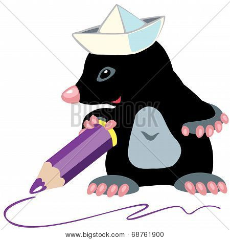cartoon mole artist holding a pencil, isolated image for little kids poster