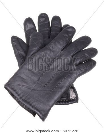 Leather Black Man's Gloves