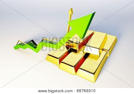 3D Render Image Of Golden Bars With Growing Graph