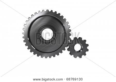 Metal cog and wheel connecting on white background poster