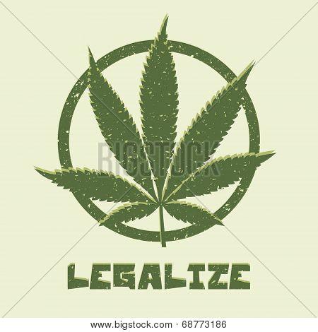 Grunge style marijuana leaf. Legalize medical cannabis.
