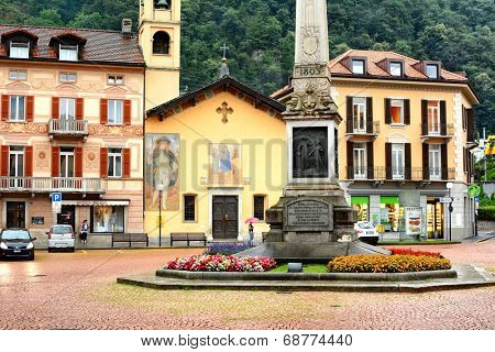 BELLINZONA, SWITZERLAND - JULY 4, 2014: Piazza Indipendenza, Bellinzona. Formerly Piazza San Rocco, takes its name from the obelisk in the center in1903 to mark centenary of the Act of Mediation.