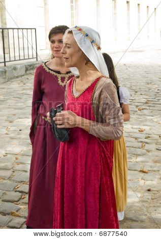 Historic Medieval Costume Pocession In  French Castle