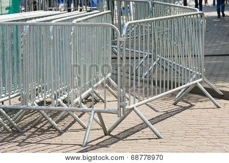 Metal barriers before concert.