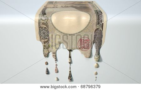 Japanese Yen Melting Dripping Banknote