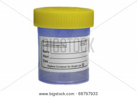 Yellow blue sample specimen container for medical exam. poster
