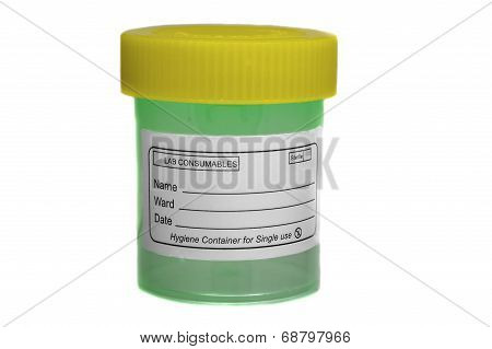 Yellow green specimen sample container for collection of liquids. poster