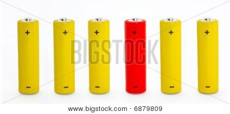 Row Of Batteries With One Outstanding