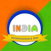 Stylish sticker, tag or label with colorful text India with yellow ribbon on national tricolors background.  poster