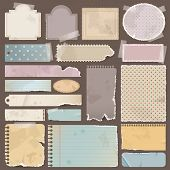 Various old remnant pieces of paper scrapbook and note board create by vector poster