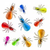 Group of crystal colorful figures of spiders on white background poster