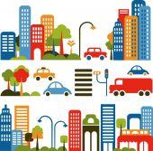 Cute Vector Illustration Of A City Street