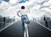 3d image of long asphalt way  and running man poster