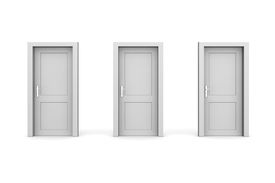 Three Grey Closed Doors