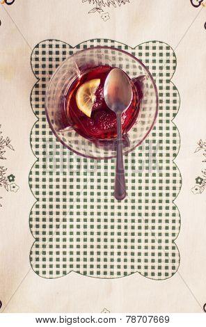 Dessert with woodland strawberries. Vintage/Retro style. Vertical orientation. poster