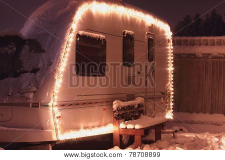 Winter camping holiday