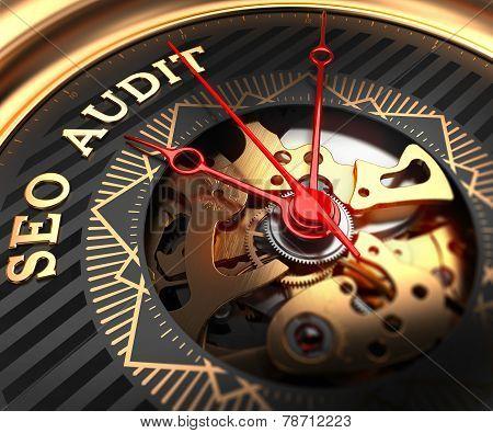 SEO Audit on Black-Golden Watch Face.