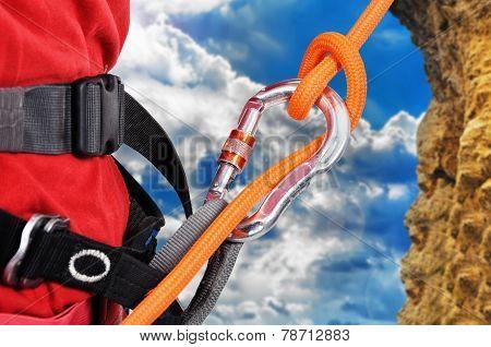 Climber Climbing A Rope