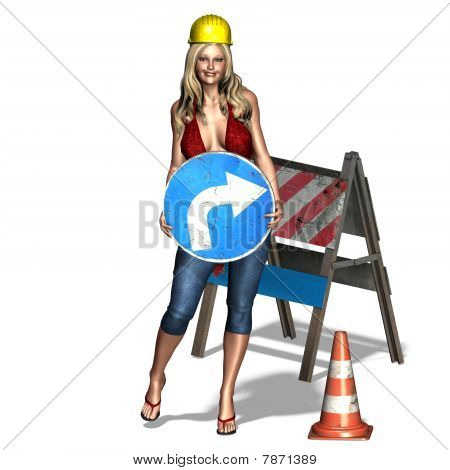 sexy woman is showing: under construction