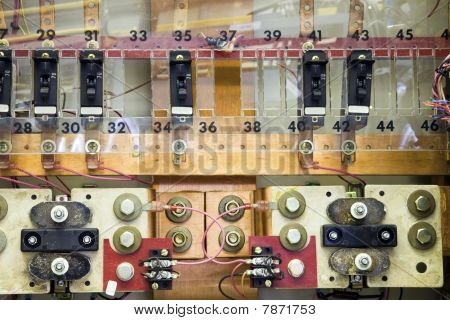 Breaker panels in power plant on cellular site. poster