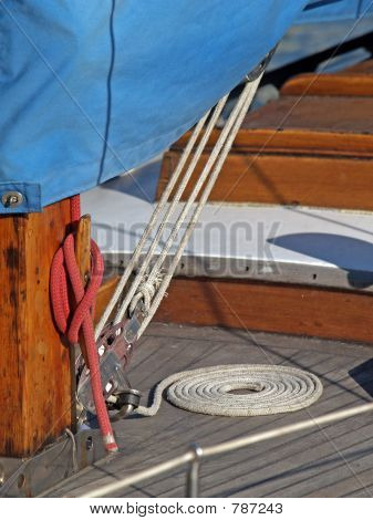 Details of yacht rope around cleat