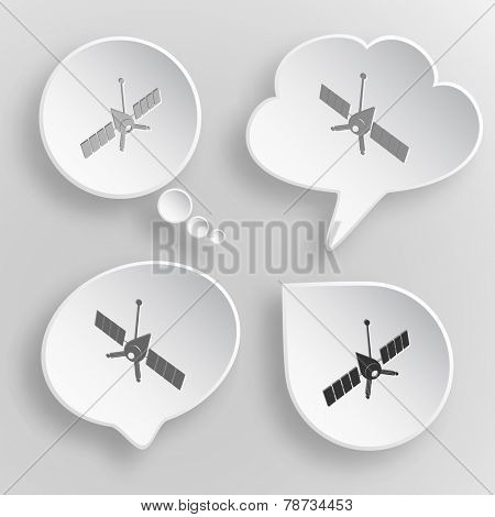 Spaceship. White flat vector buttons on gray background.