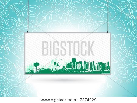 Urban grunge city with sample text banner background