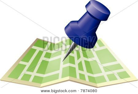 Illustration Of A Street Map With Drawing Push Pin
