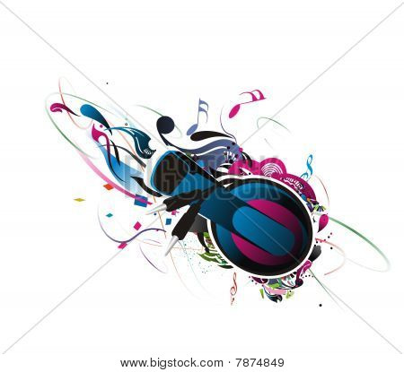 abstract design headphones on a grunge floral background