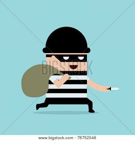 Thief Cartoon Holding Knife In His Hand And Carrying A Money Bag