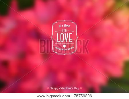 It's Time for Love Text on Blurred Background with Hyacinth Flower.