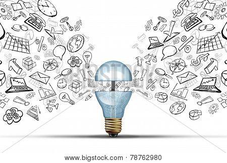 Business innovation ideas concept as an open light bulb with financial and office icons being released as a communication success symbol for marketing strategy solutions. poster