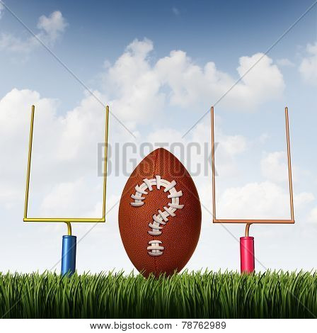 Winning strategy choice as two american football goal posts and a ball with a question mark made from stitching as a business goal symbol of uncertainty. poster