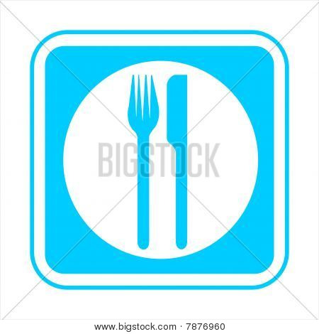 Blue sign isolated on a white background
