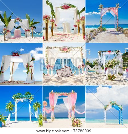 beautiful wedding arch, cabana, beach wedding, tropical wedding set up collection set