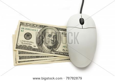Computer Mouse With Dollar Banknotes