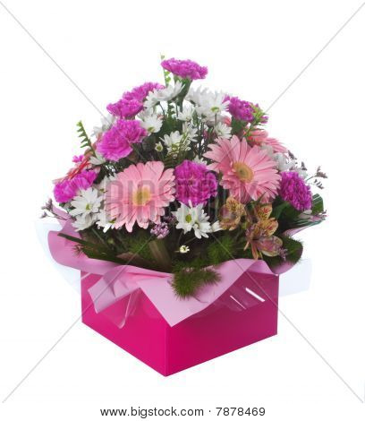 Pink Boxed Flower Arangement