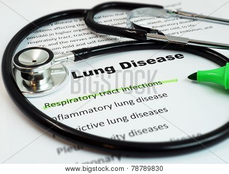 Paper with words  Lung Disease and Respiratory tract infections with marker and stethoscope poster