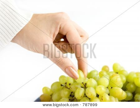 Grape with hand