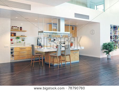 modern kitchen interior with kitchen island (3D design illustration)
