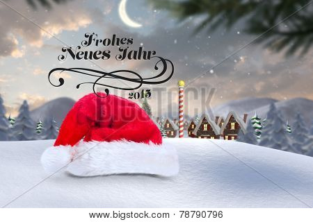 frohes neues jahr against cute christmas village at north pole poster