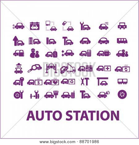auto station, car services, car washing icons, signs, illustrations set, vector