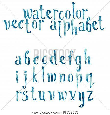 Colorful watercolor aquarelle font type handwritten hand drawn doodle abc alphabet letters vector. poster