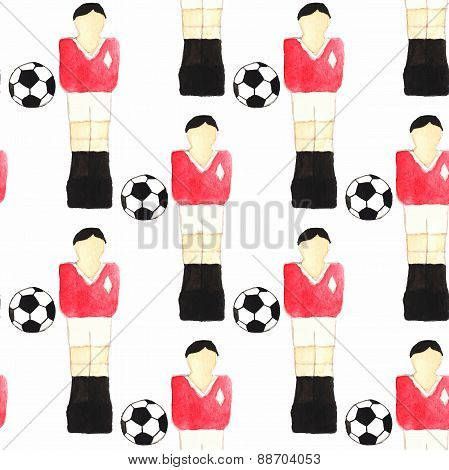 Watercolor seamless pattern with oldfashioned foosball players and ball on the white background, aqu