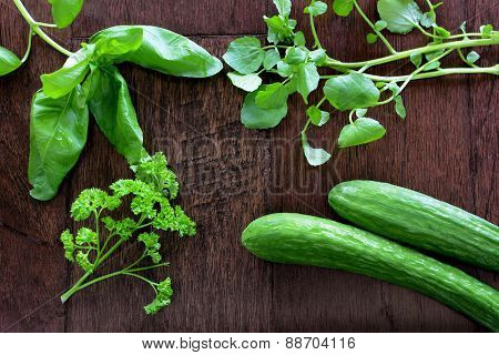 Fresh Herbs On Dark Wood Background