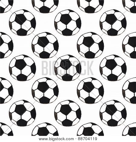 Watercolor seamless pattern with oldfashioned football ball on the white background, aquarelle. Vect