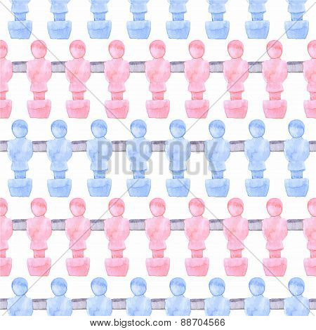 Watercolor seamless pattern with foosball players on the white background, aquarelle. Vector illustr