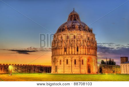 The Pisa Baptistry Of St. John In The Evening - Italy