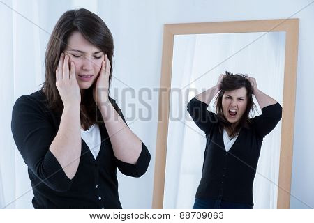 Woman Trying To Mask Emotions