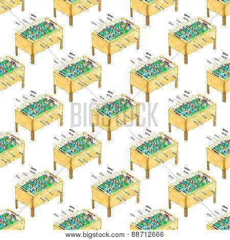 Watercolor seamless pattern with foosball tables on the white background, aquarelle. Vector illustra